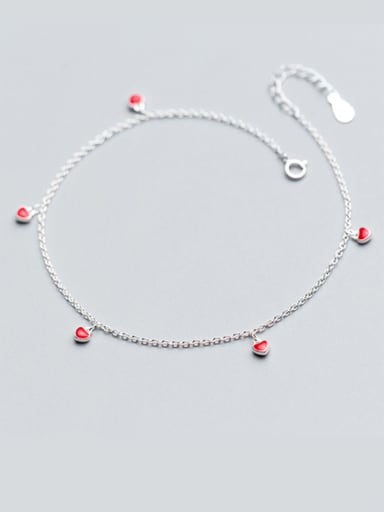 925 Sterling Silver With Platinum Plated Fashion Heart Anklets
