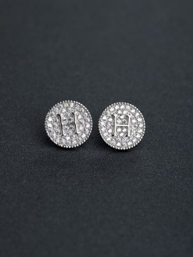 Letter  H  Inlaid   Zircon    small and exquisite   925 Silver  Ear Studs