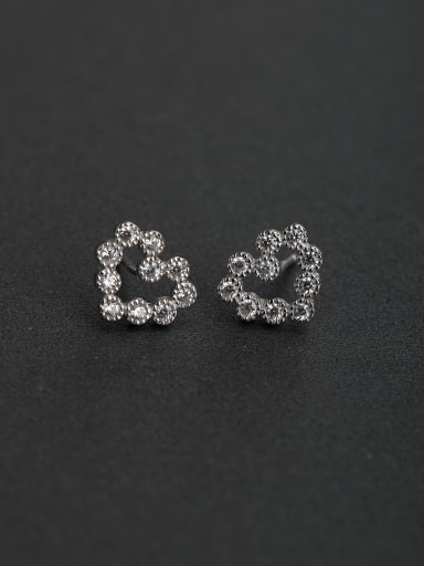 Bling bling Micro inlay Zircon heart flower 925 silver Stud earrings