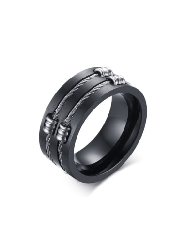 Stainless Steel With Gun Plated Punk Band Rings