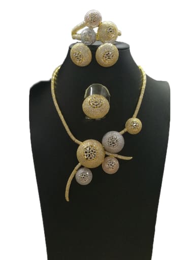 Copper With MIX Plated Fashion Round 4 Piece Jewelry Set