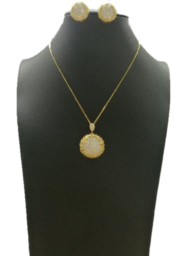 Copper With Gold Plated Vintage Round 2 Piece Jewelry Set