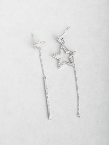 star Asymmetry Zircon Copper inlaid platinum Drop Earrings
