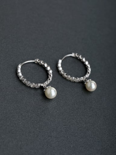 Micro inlay Zircon round  Imitation pearls 925 silver clip on earrings