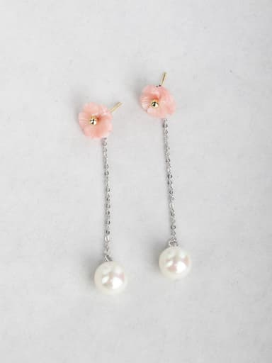 pink flower shell Imitation pearls Copper inlaid platinum Drop Earrings