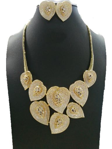 Copper With Gold Plated Fashion Leaf 2 Piece Jewelry Set