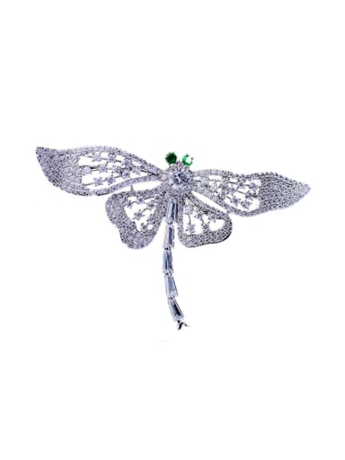 Copper With Cubic Zirconia Cute Insect Dragonfly Brooches