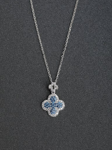 Micro inlay Rhinestone Lucky Clover 925 Silver Necklaces Rhinestone