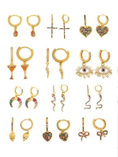 Copper With Cubic Zirconia Trendy Geometric/heart/cross/dreemtree Clip On Earrings