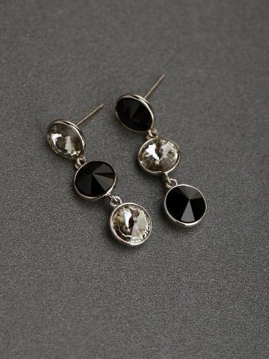 Black white crystal 925 silver Stud earrings