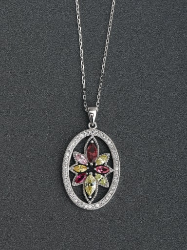 Micro inlay oval Multicolored flowers 925 Silver Necklaces
