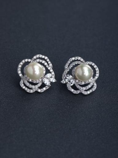 Micro inlay Zircon flower Imitation pearls 925 silver Stud earrings