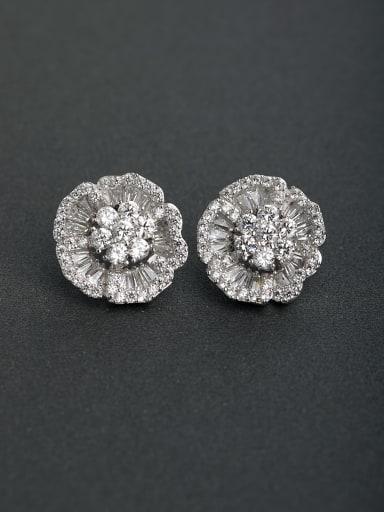 Inlaid zircon Flower  925 silver Stud earrings