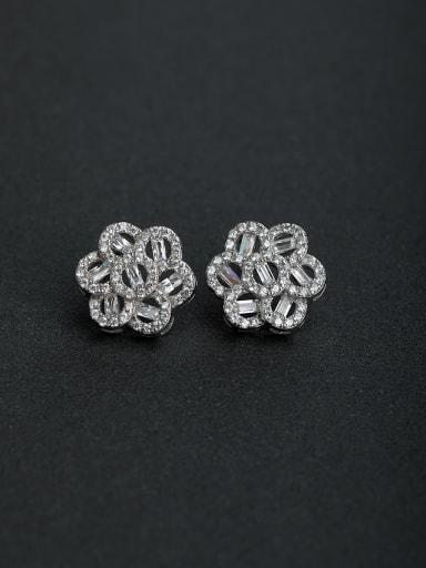Micro inlay Zircon flower  925 silver Stud earrings