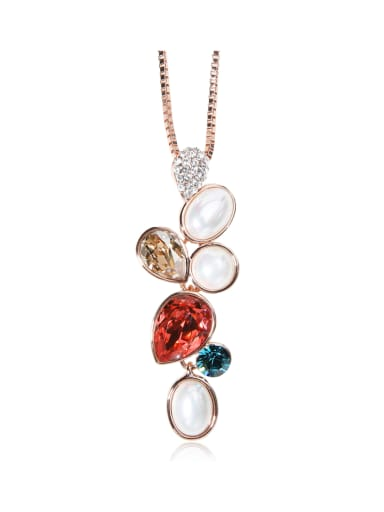 Deep Sea shell Swarovski element crystal necklace