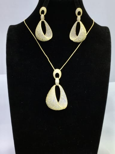 Copper With Gold Plated Fashion Irregular 2 Piece Jewelry Set