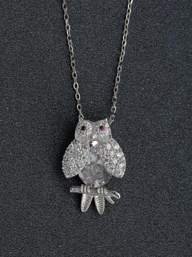 Miniature zircon crystal owl 925 silver necklace