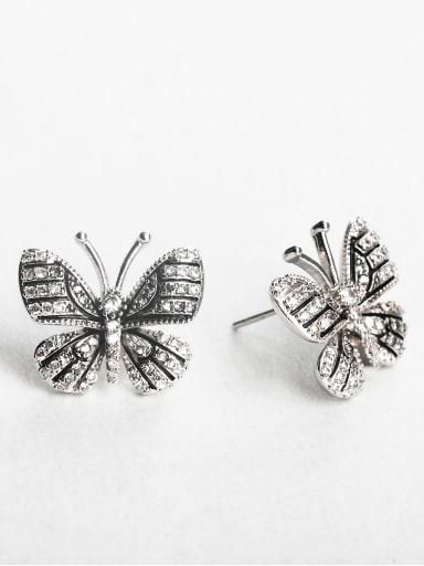 Retro silver oxide butterfly Cluster Earrings