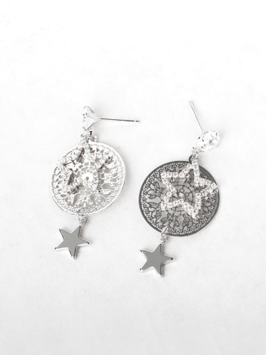 Very thin Carved Zircon  star Copper inlaid platinum Drop Earrings