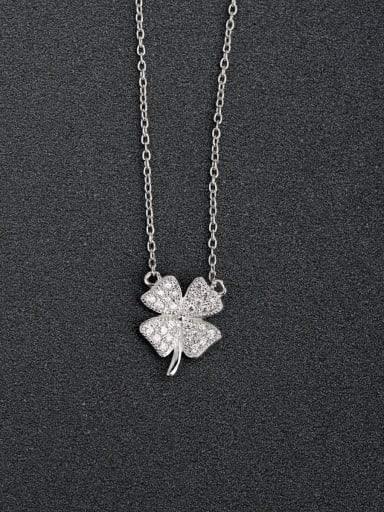 Micro inlay Zircon Lucky Clover 925 Silver Necklaces
