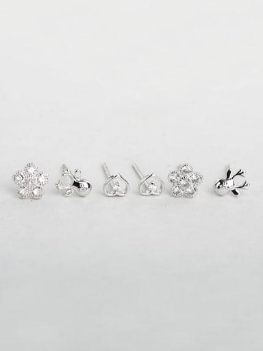 Shiny  Flowers fishstar heart zircon Multiple combinations Stud Earrings