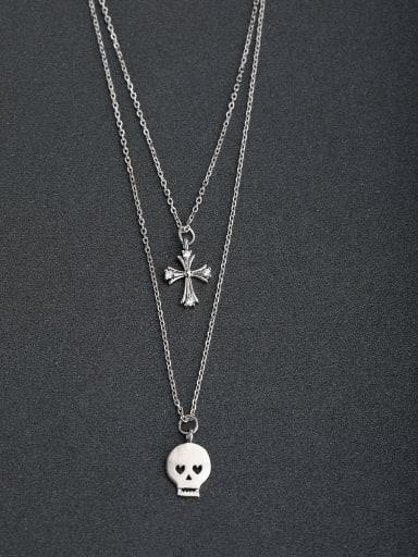Micro inlay Zircon Skull cross 925 Silver Multi Strand Necklaces