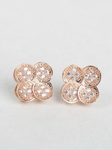 Rose gold clover Rhinestone Cluster Earrings
