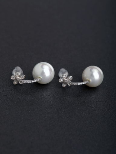 Micro inlay Rhinestone  Imitation pearls 925 silver Stud earrings