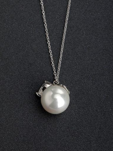 Micro inlay Zircon  Imitation pearls 925 Silver Necklaces