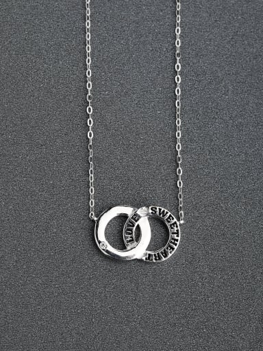 Micro inlay Zircon Printing double ring 925 Silver Necklaces