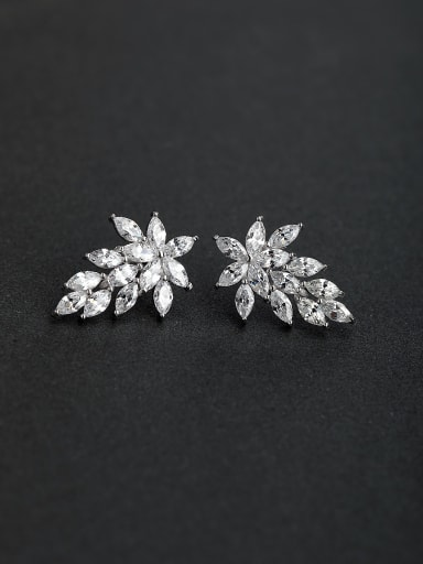 Luxury zircon Leaf 925 silver Stud earrings
