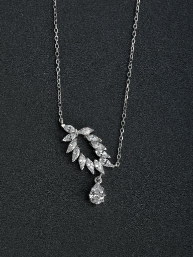 White zircon eye drops 925 silver necklaces