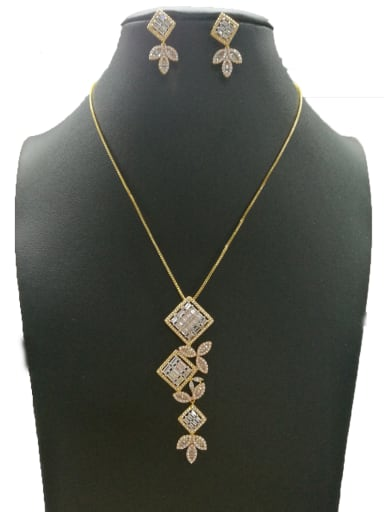 Copper With Mix Plated Fashion Square 2 Piece Jewelry Set