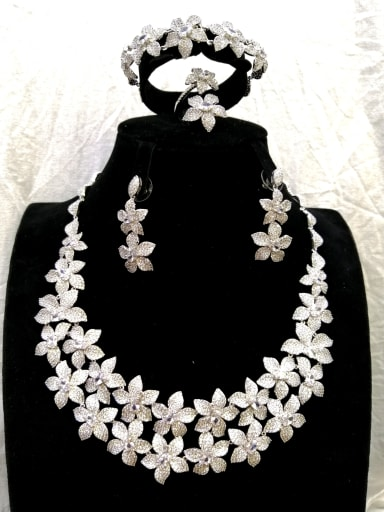 Copper With White Gold Plated Trendy Flower 4 Piece Jewelry Set