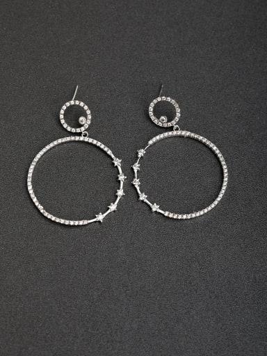 Micro inlay Zircon Round 925 silver Drop Earrings