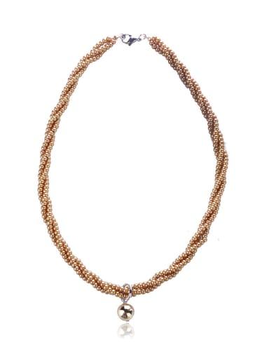 Millet beads Golden ball necklace