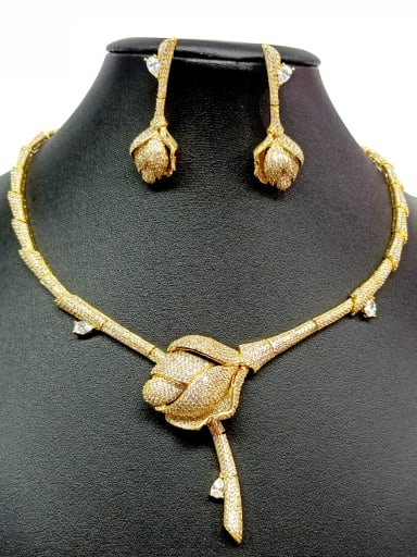 Copper With Gold Plated Luxury Rosary Jewelry Sets