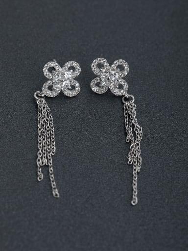Micro inlay Zircon flower 925 silver Drop Earrings