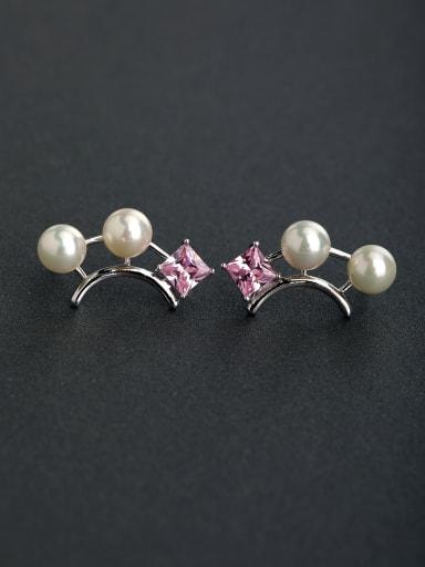 Micro inlay pink Zircon Imitation pearls 925 silver Drop Earrings