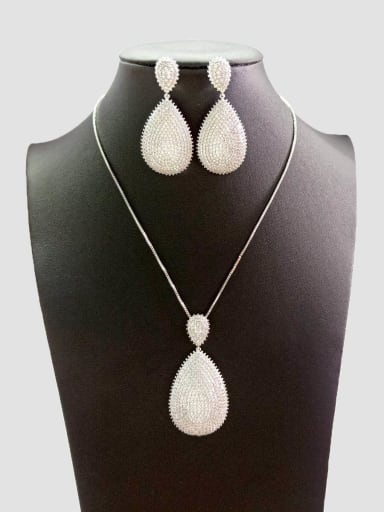 Copper With White Gold Plated Simplistic Water Drop Jewelry Sets