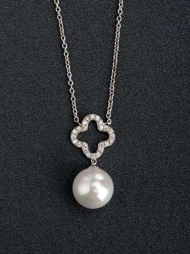Micro inlay Zircon Lucky Clover Imitation Pearl 925 Silver Necklaces