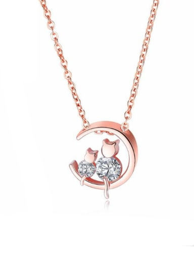 Copper With Rose Gold Plated Cute Cat Necklaces