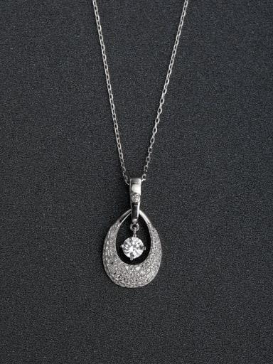 Micro inlay Zircon Droplet type 925 Silver Necklaces