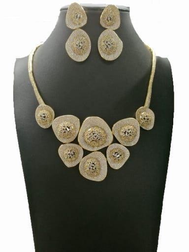 Copper With Gold Plated Trendy Irregular 2 Piece Jewelry Set