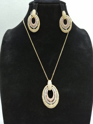 Copper With MIX Plated Classic Oval 2 Piece Jewelry Set
