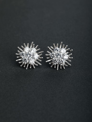 Bling bling Zircon flower 925 silver Stud earrings