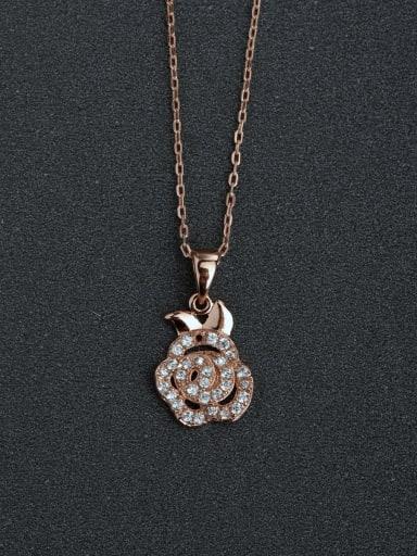 Micro inlay Zircon Fashion Flower 925 Silver Necklaces