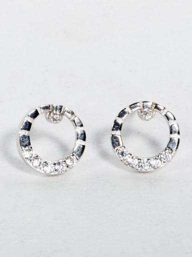 Shiny zircon round Stud Earrings