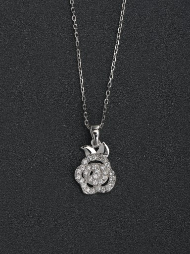 Simple flower pendant 925 silver necklace
