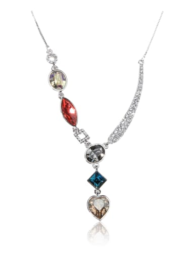 Drops of water Ellipse Love Square  Swarovski element crystal  necklace
